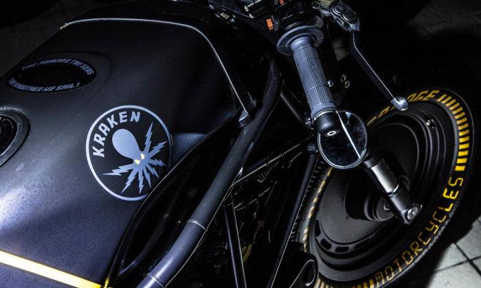 Кастом с очень сложным кузовом. Сделан Kraken был полностью на базе модели Ducati 750 SS, но при это