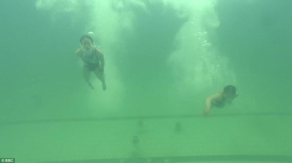 Из-за этой зелени под водой спортсменов было почти не видно.
