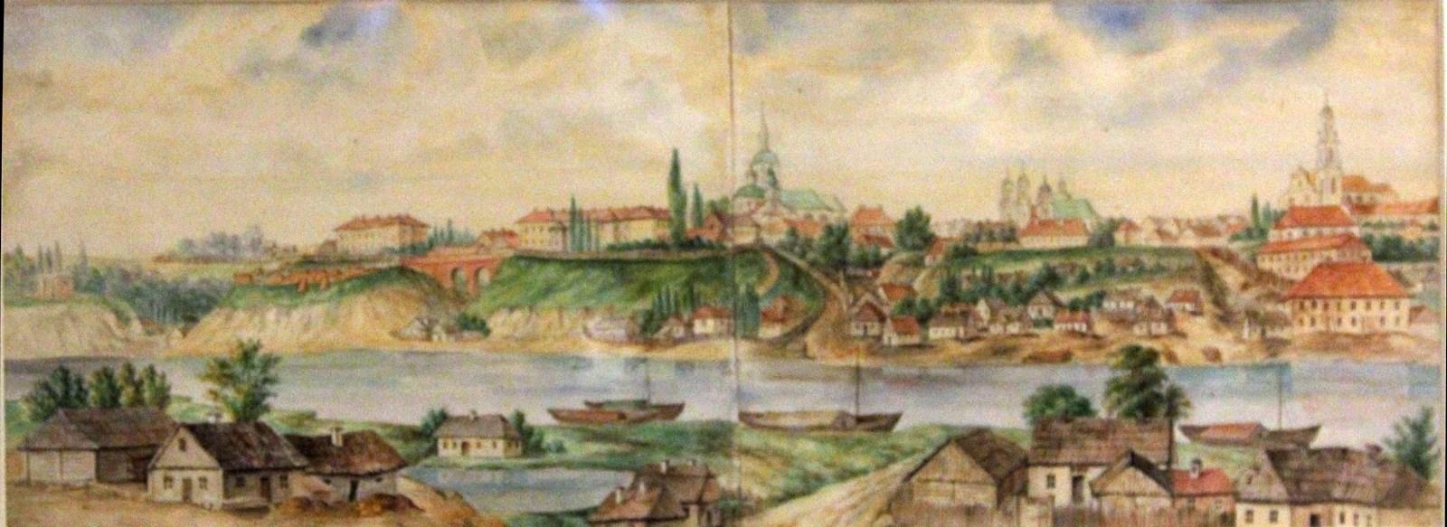 Орда Наполеон. 1807-1883 Гродно. Панорама. 1861-1869 Рисунок карандашом, подправленный акварелью Национальный музей в Кракове