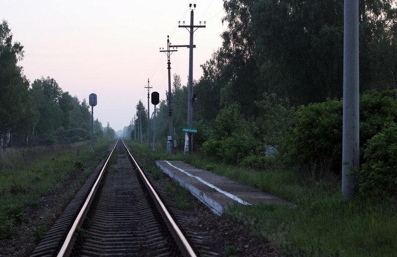 Платформа Помельница, перегон Сычёвка - Осуга, вид на Ржев
