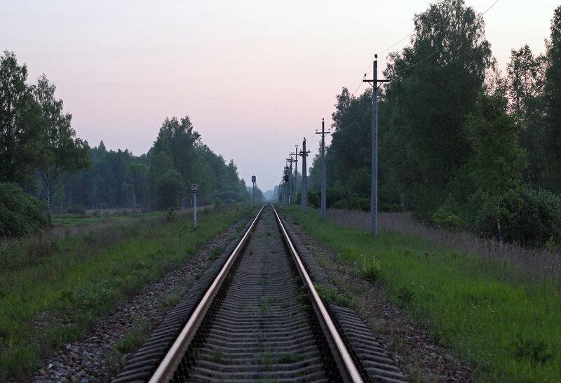 Бывшая вяземская горловина закрытой станции Помельница, перегон Осуга - Сычёвка, вид на Ржев