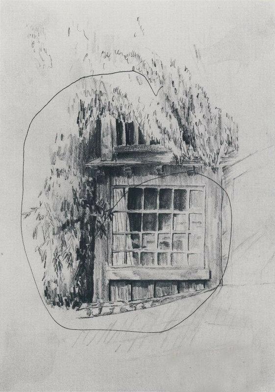 Набросок чердачного окна с последней линией, проведённой Карлом  - сыном Ф,1964