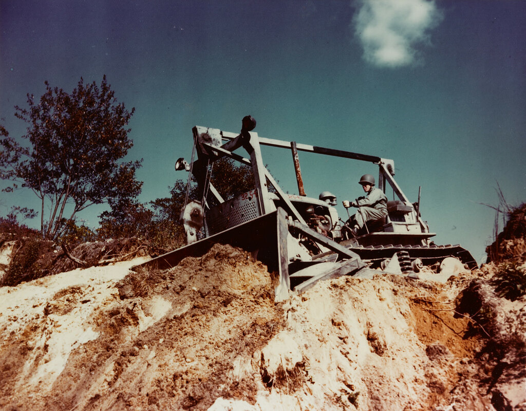 """""""Seabee"""" Bulldozer. In operation at the construction Battalion Training Center, camp Endicott, Davisville, Rhode Island, in the fall of 1943."""