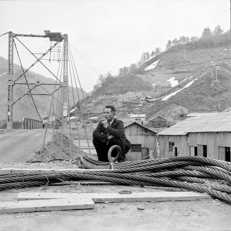 Man in Suit, Cable & Bridge - 1950s Japan