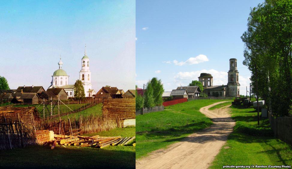 Деревня Новинки, 1910/2010. Фото: В. Ратников.