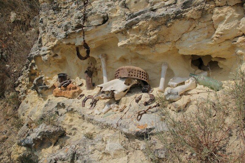Импровизированный жертвенник с найденным на берегах Фиолента барахлом: лошадиный череп, ржавые подковы, кости, цепи