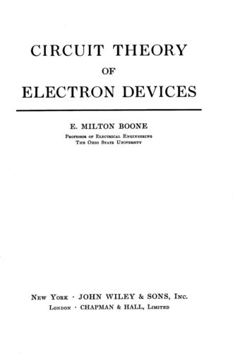 Circuit Theory of Electron Devices - E. Milton Boone - Book Cover