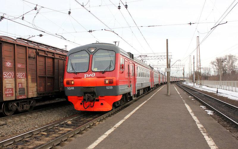 ЭД4М-0259 на станции Орехово-зуево рейсом Александров - Куровская