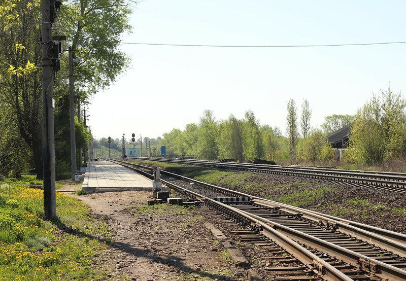 Подъездной путь от станции Зубцов, который пересекает пассажирскую платформу, вид на Волоколамск