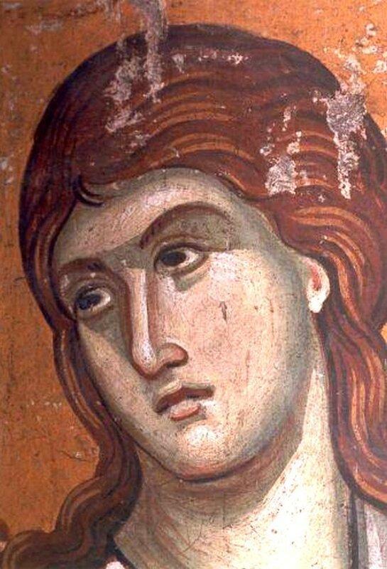 Святой мученик. Фреска монастыря Протат на Афоне. Конец XIII века. Иконописец Мануил Панселин.