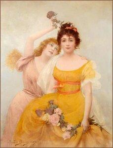 Э. Биссон. Две девушки с розами.
