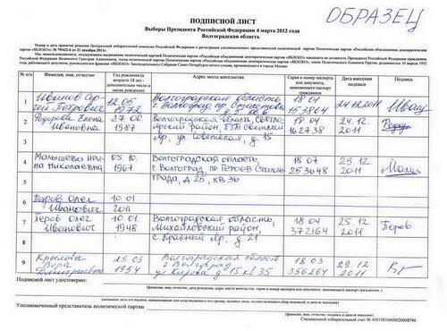 образцы подписных листов