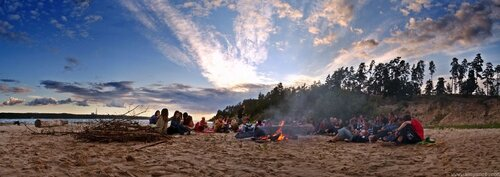 Небо костёр пляж дети панорама