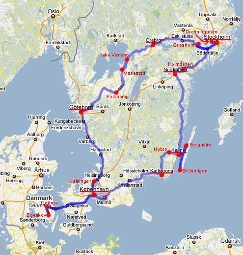 Схема основной части маршрута