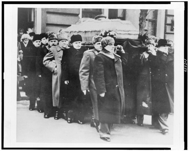 Pallbearers Lavrentii Beriia, Georgi Malenkov, N. Shvernik, Lazar M. Kaganovich, Nikolai Bulganin, Vyacheslav Molotov, and Vassily T. Stalin, at the funeral of Joseph Stalin.