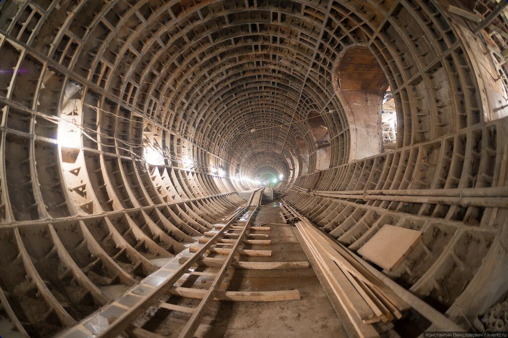 Левый станционный тоннель, вид в сторону Петровско-Разумовской