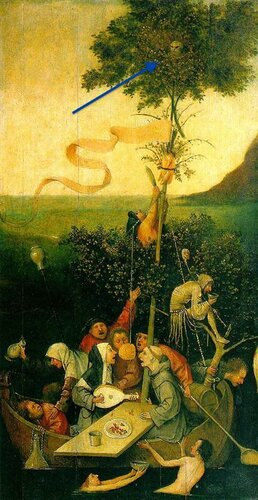 Hieronymus Bosch - The Ship of Fools (c. 1490 - 1500) - Owl in the top of the tree