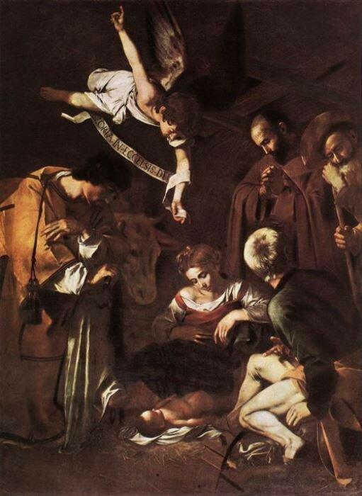 Караваджо, *Рождество со святыми Франциском и Лаврентием*