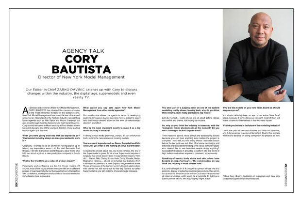 AGENCY TALK with NEW YORK MODEL MANAGEMENT Director CORY BAUTISTA