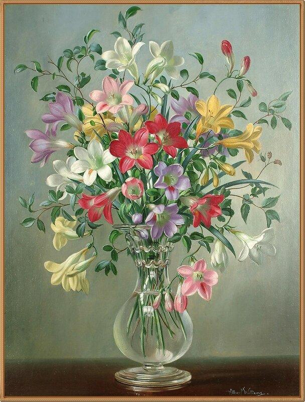 52 Фрезии в стеклянной вазе (Freesias in a glass vase)_44 x 34_х.,м. Albert Williams (1922-2010)_Частное собрание.jpg