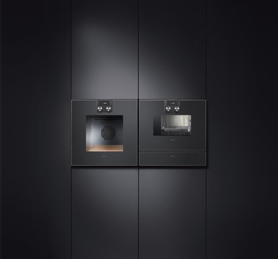черные духовые шкафы из стекла Gaggenau