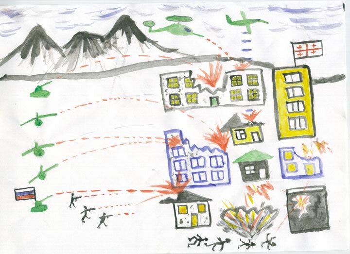 дети рисунок война геноцид цхинвал