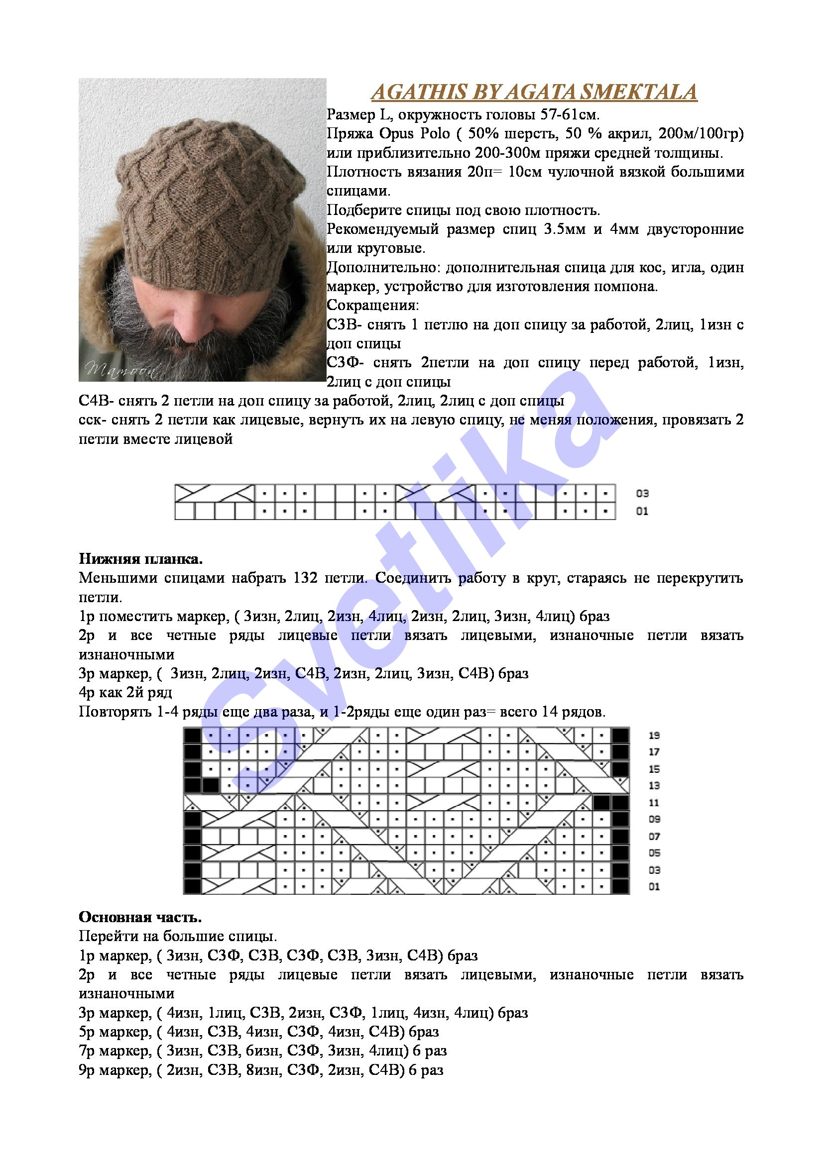 модели и схемы вязания на спицах шапок беретов