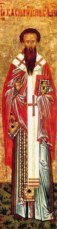 Святой Преподобный Василий Исповедник, Епископ Парийский. Фрагмент новгородской иконы конца XV века.