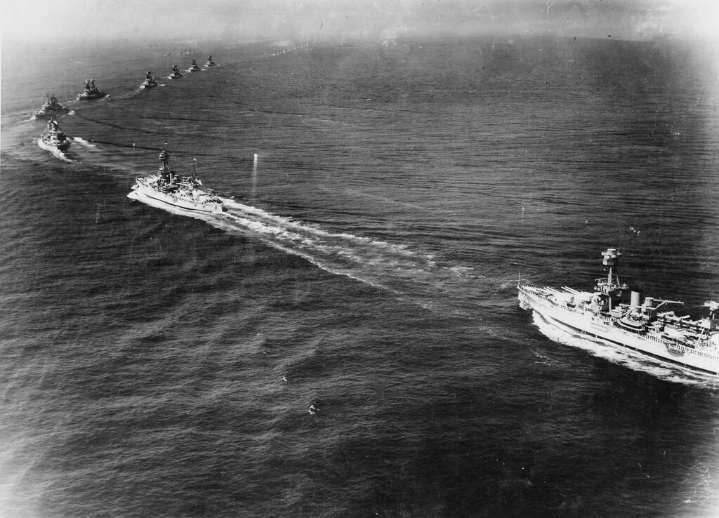 Vessels of US fleet after passing the presidential review. USS INDIANAPOLIS (CA-35) off Ambrose lightship, New York harbor. Thu, May 31, 1934