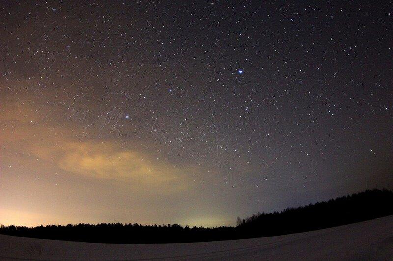 Звёздное небо и облака через фишай-объектив - Астрономический выезд в Жданухино