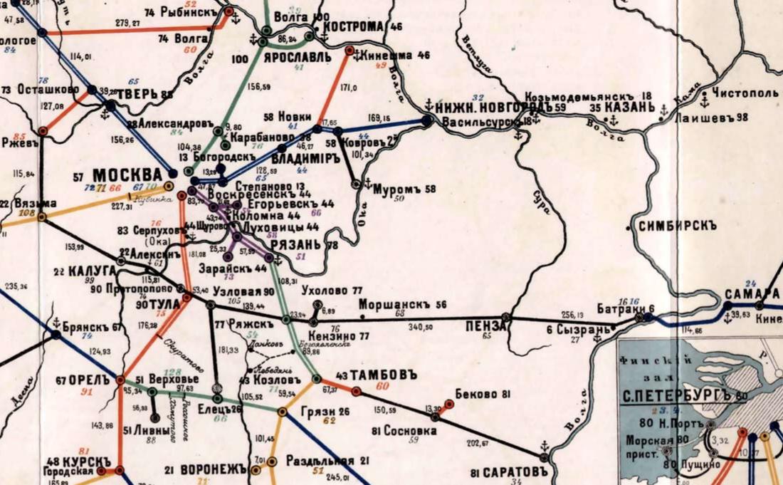 Схема железных дорог бассейна