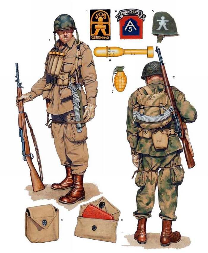 Вооружение и экипировка военнослужащих 2-го батальона 509-го парашютного пехотного полка армии США в Великобритании и Марокко (1942 - 1943 годы)