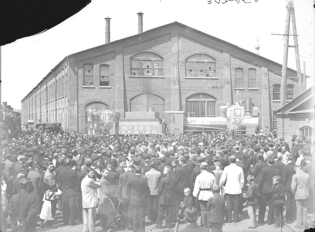 1899. АО «Сормово». Молебен по случаю выпуска 100-го паровоза. Нижний Новгород