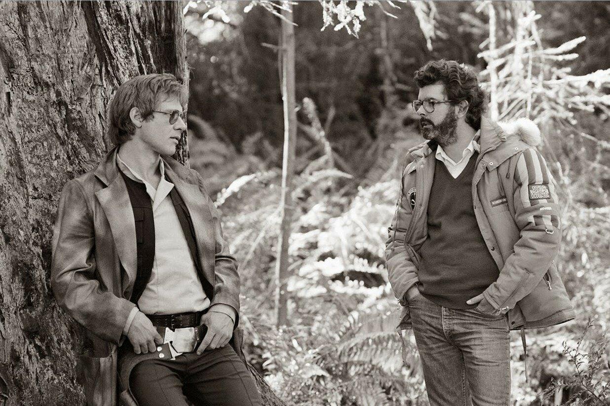 1982. Харрисон Форд и Джордж Лукас на съемках «Звёздные войны. Эпизод VI: Возвращение джедая»