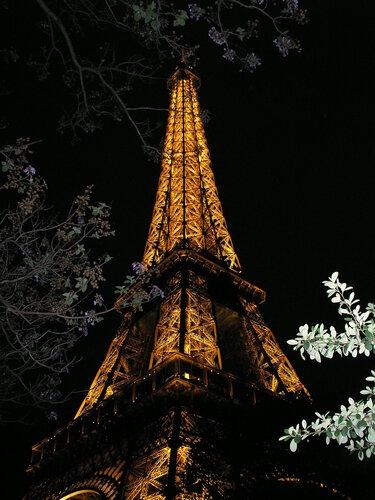 Символ Парижа - Эйфелева башня, Путешествия, экскурсии.  Ночное освещение.