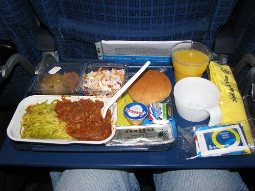 Москва-Афины.  Питание  на  борту