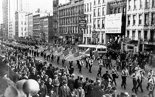 German-American Bund parade in New York City, Oct. 30, 1939.[Credits : New York World-Telegram and the Sun Newspaper Photograph Collection, Library of Congress, Washington, D.C. (neg. no. LC-USZ62-117148)]