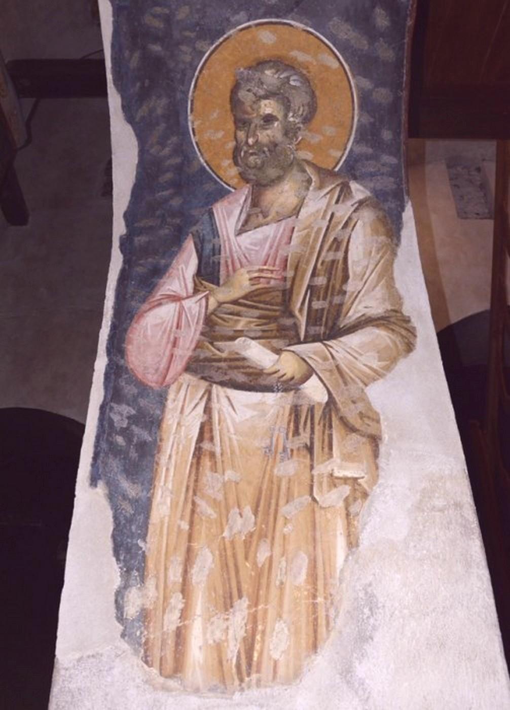 Святой Апостол Пётр. Фреска церкви Богородицы Левишки в Призрене, Косово, Сербия. 1310 - 1313 годы. Иконописец Михаил Астрапа.