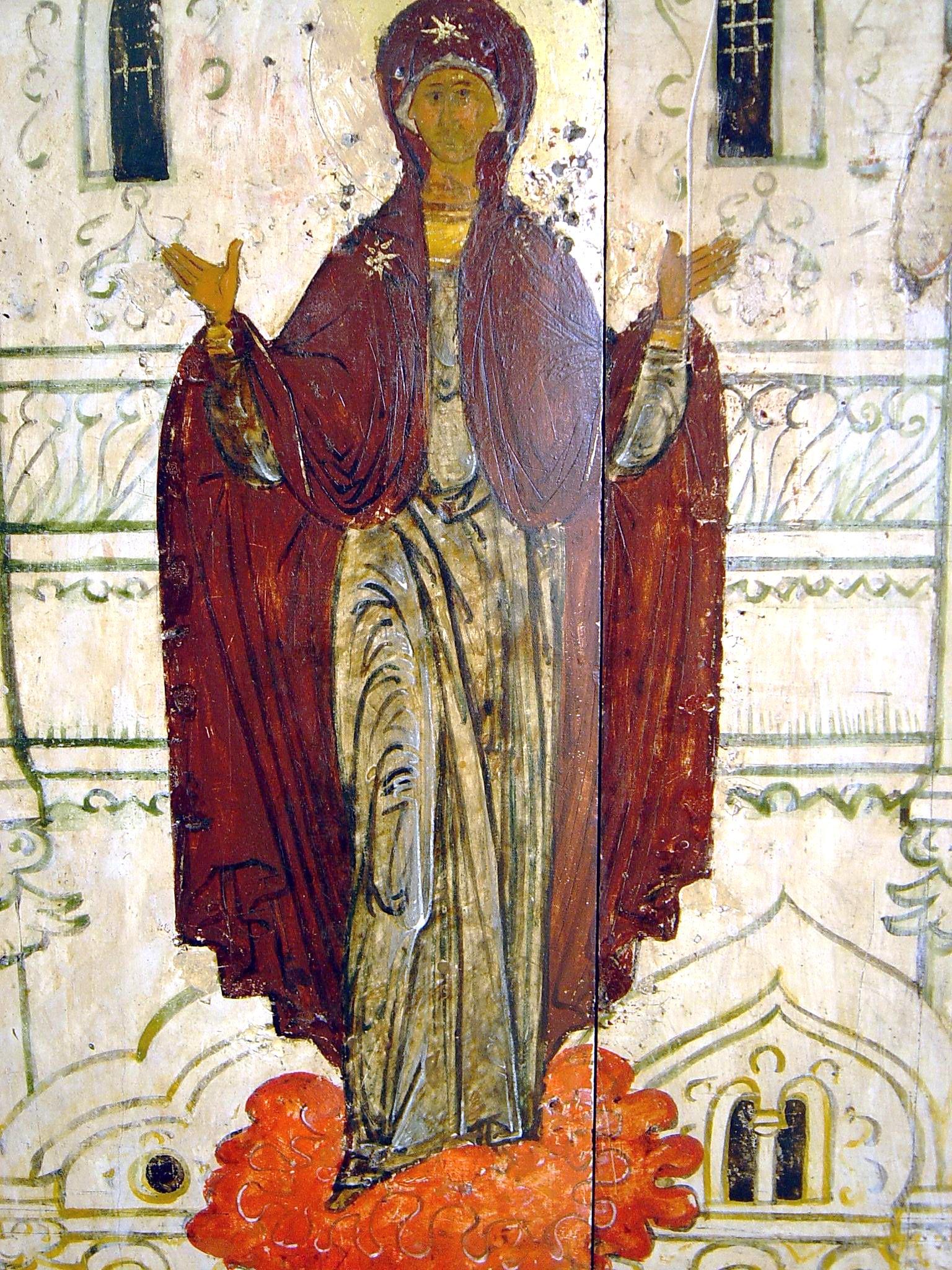 Покров Пресвятой Богородицы. Икона XVI века. Фрагмент. Пресвятая Богородица.