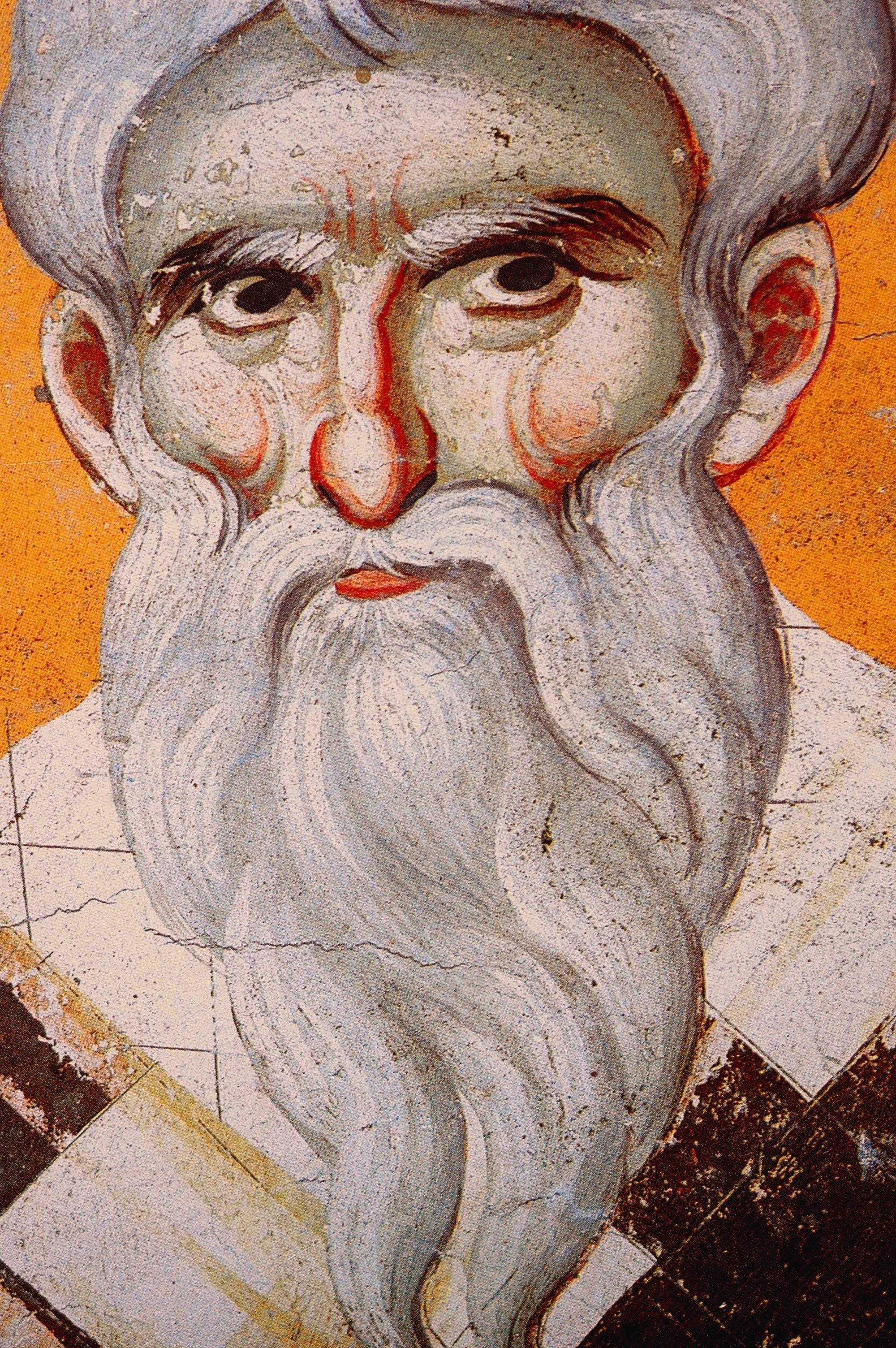 Священномученик Иерофей, Епископ Афинский. Фреска конца XIII века в монастыре Протат на Афоне. Иконописец Мануил Панселин.
