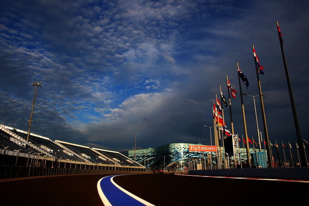 SOCHI, RUSSIA - OCTOBER 08:  A general view of the track backdropped by the Iceberg Skating Palace during previews ahead of the Russian Formula One Grand Prix at Sochi Autodrom on October 8, 2014 in Sochi, Russia.  (Photo by Paul Gilham/Getty Images)
