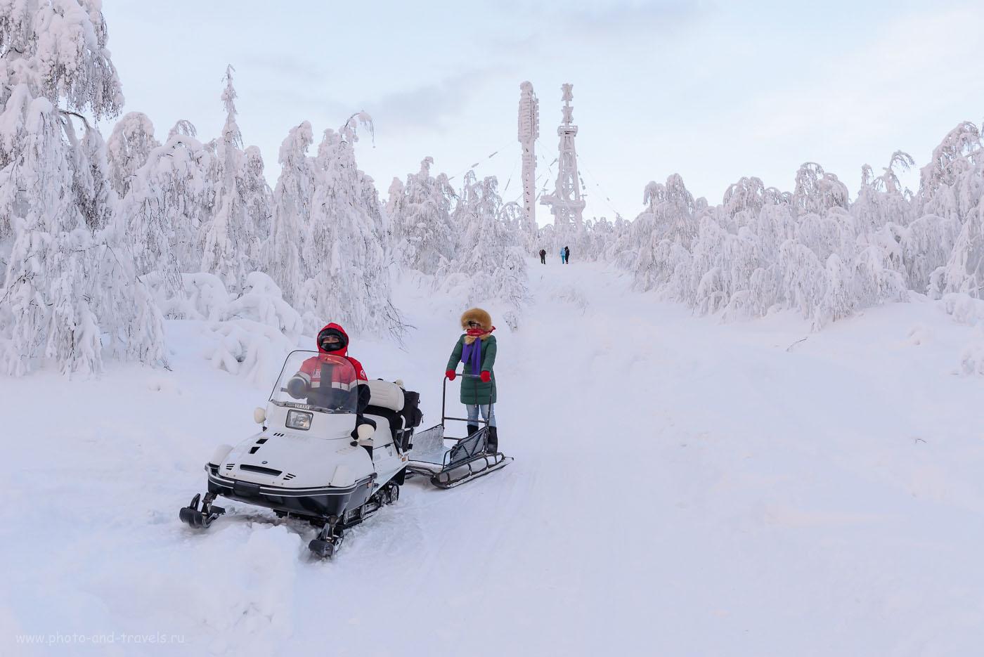 Фотография 12. Вот таким образом мы поднимались и спускались на гору Полюдов камень на снегоходе.