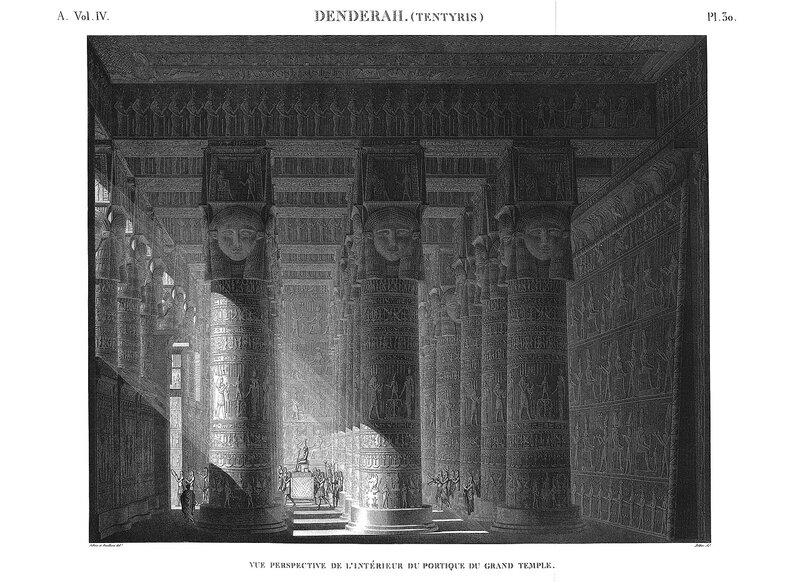 Святилище Хатхор в Дендре, Египет, реконструкция интерьера гипостильного зала, чертежи мелких строений в окрестностях святилища
