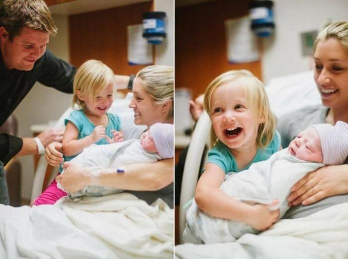 Дети впервые видят своих новорожденных братьев и сестер(фото)
