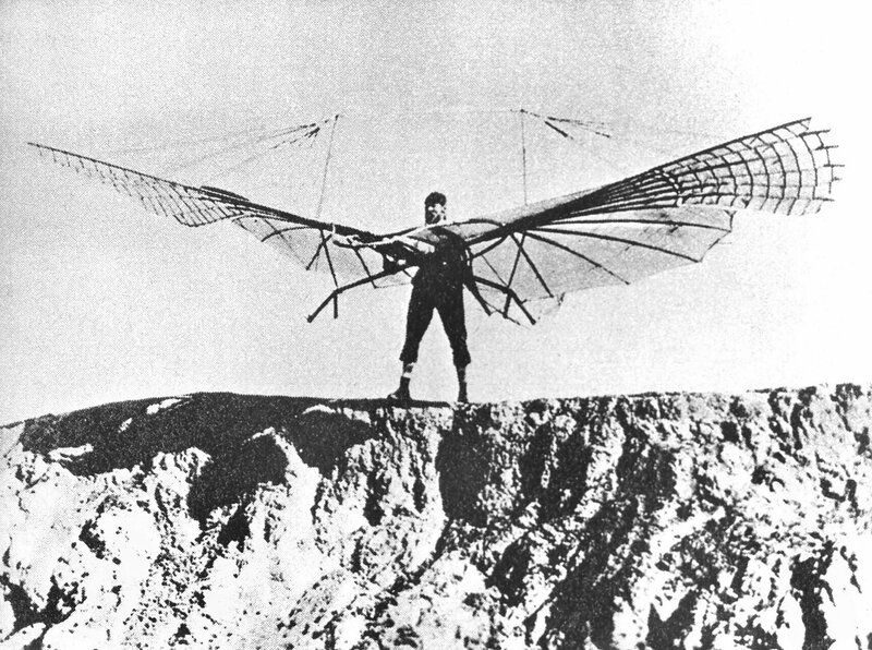 Otto Lilienthal, pioneer of aviation, died in 1896 of injuries sustained when his glider stalled and he was unable to regain control; falling from about 15 m (50 ft) – fractured his neck..jpg