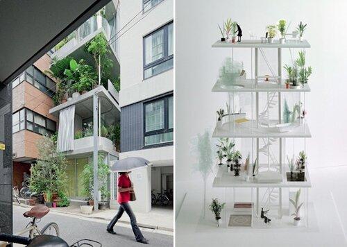 Зеленый дом в центре Токио