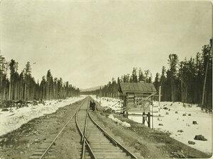 Вид части железнодорожного полотна и сторожки в районе станции Кедровая