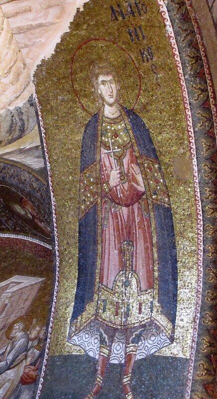 Святой мученик Андроник Тарсийский. Мозаика монастыря Хора в Константинополе. 1315 - 1321 годы.