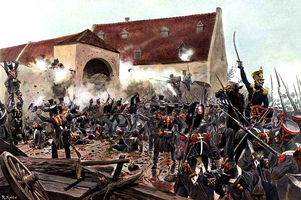 Knotel_-_Ferme de la Haie SainteThe storming of La Haye Sainte, the crucial position at the centre of Wellington's position at the battle of Waterloo.jpg