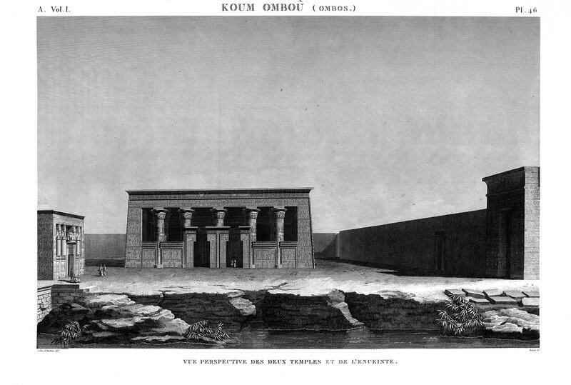 Храмы в Ком-Омбо, общий вид на малый и большой храмы, гравюра